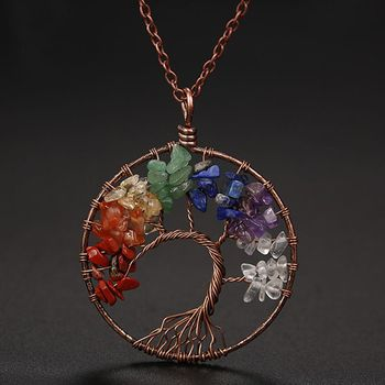 7 Chakra Tree Of Life Pendant Necklace Copper Crystal Natural Stone Necklace Quartz Stones Pendants Women Christmas Gift 1