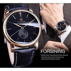Image 3 - Forsining Simple Men Mechanical Watch Automatic Sub Dial Black Ultra thin Analog Genuine Leather Band Wristwatch Horloge Mannen