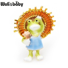 Wuli&baby Lovely Frog Holding Umbrella Brooches Women Alloy Animal Casual Banquet Brooch Pins Gifts