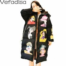 Vefadisa冬の文字プリントパーカー女性2020厚いフード付きパーカージャケットルースジッパーの綿パッド入りコート白黒QYF1284