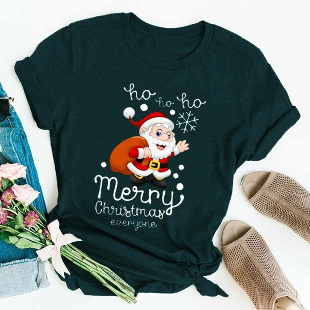 Divertente Babbo Natale T-Shirt Delle Donne di Natale Del Fumetto Stampato Manica Corta di Base Tee Shirt di Natale Delle Donne T Shirt Top Camiseta Mujer