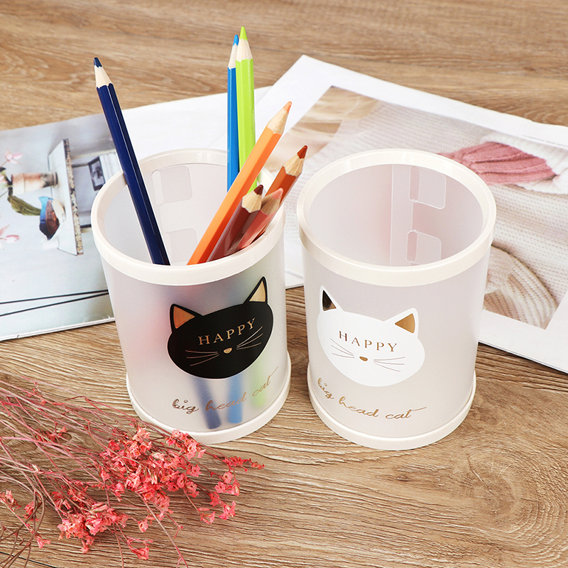 Pencil Holders 1pc PP Animal Cat Star Transparent Frosted Round Pen Holder Students Office School Supplies