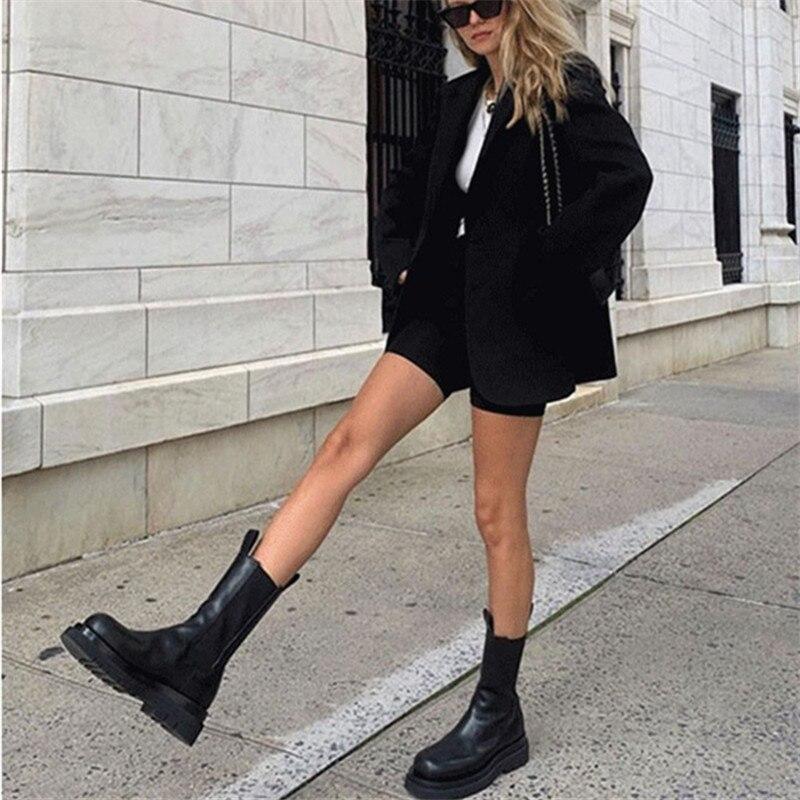 Joy Rose 2020 nuevas Botas Chelsea negras de moda para Mujer Botas de cuero genuino botines planos Mujer Botines cortos deslizantes - 6