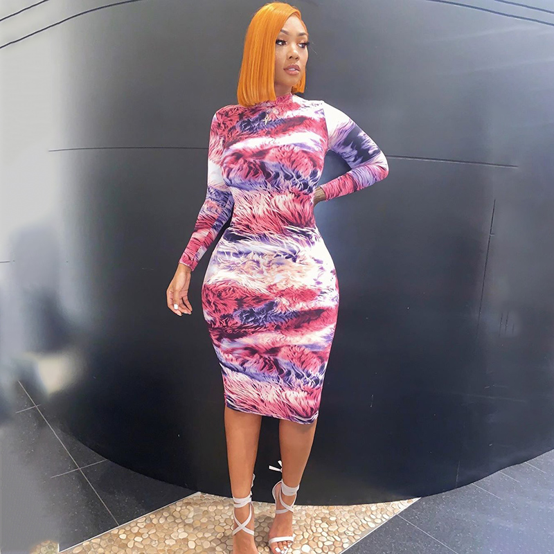 Print  Lng sleeve Colorful Sexy Midi Dress