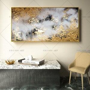 Image 5 - 2019 neue 100% Hand Bemalt Abstrakten Gold Kunst Wand Bild Handgemachte Goldene Baum Leinwand Ölgemälde Für Wohnzimmer Hause decor