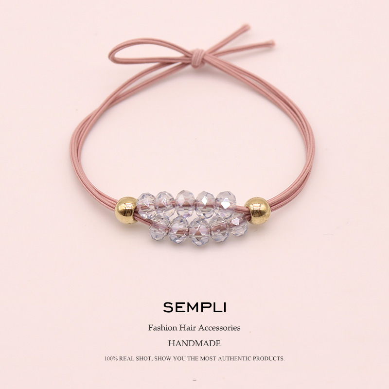 Sempli High Elastic Rubber Band Glitter Crystal Hair Bands For Womens Blue Pink Yellow Gold Bead Headwear