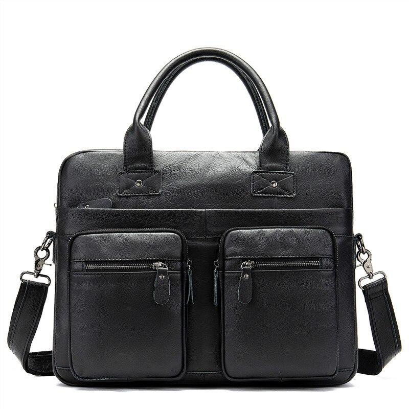 Hot 100% Genuine Leather Male Bussiness Bag For Man Messenger Bag Men's Shoulder Bag Leather Briefcase Handbags For Document