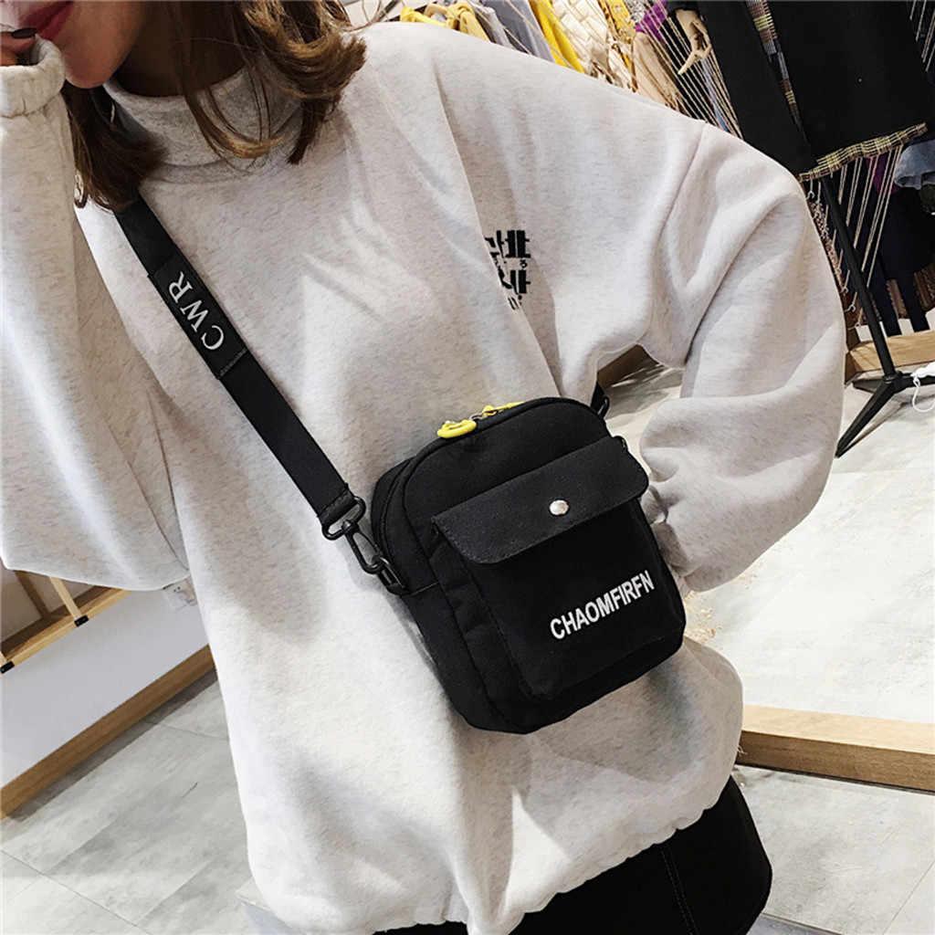 Bolsa de ombro feminina moda cor pura casual sacola ao ar livre bolsa de lona zíper mensageiro harajuku sacos sac principal femme # j3s