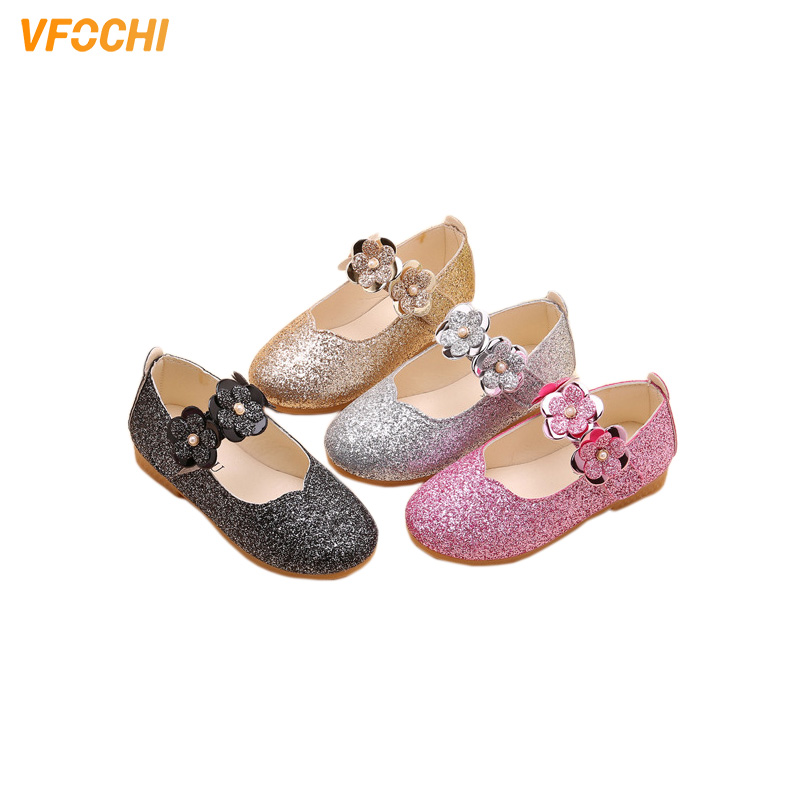 VFOCHI New Girls Leather Shoes For Kids Sequin Girls Princess Shoes Children Party Dancing Shoes Teenager Girls Dress Shoes