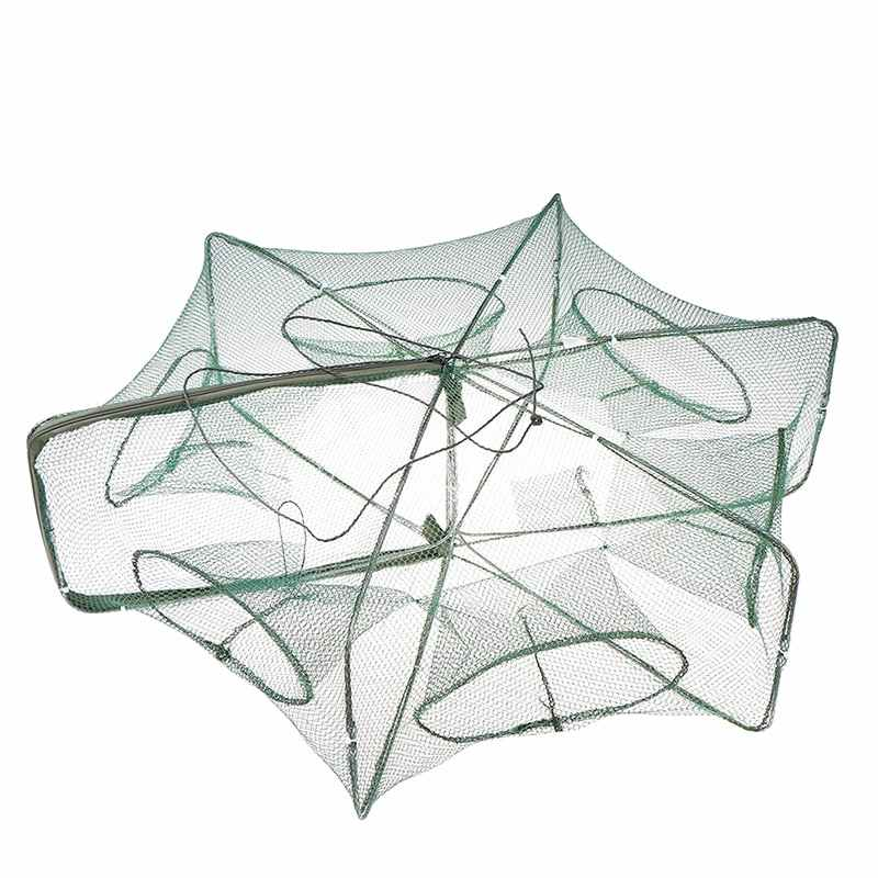 6 หลุมตกปลาสุทธิพับแบบพกพา Hexagon ปลาเครือข่ายหล่อ Nets Crayfish กุ้ง Catcher ถังดักกรงราคาถูก