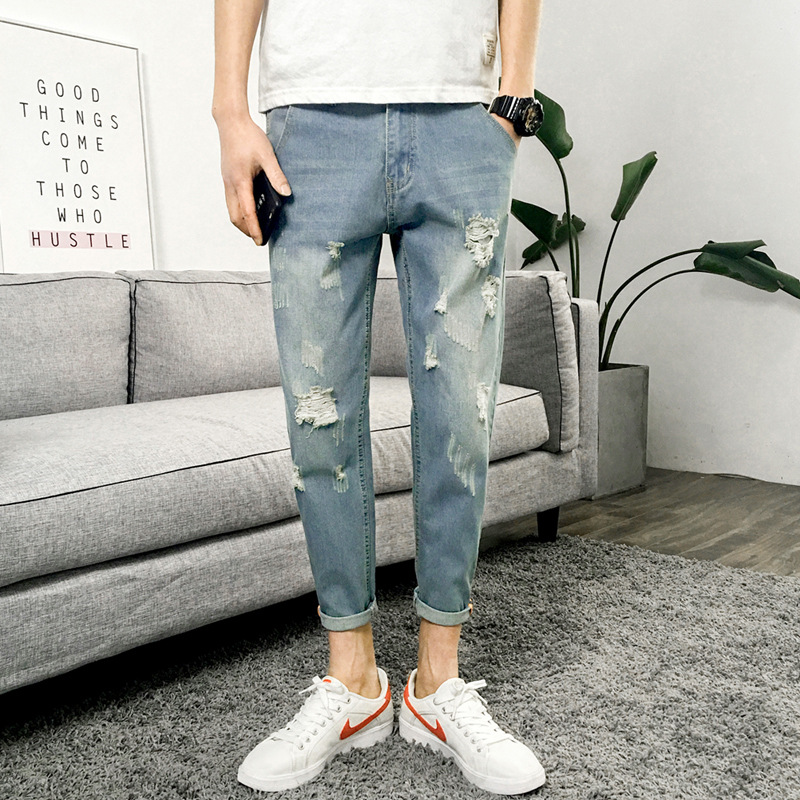 Denim (Ankle-length Pants) Men's With Holes Jeans Slim Fit Versatile Pants 2019 New Style Korean-style Washing Trend Ripped Jean