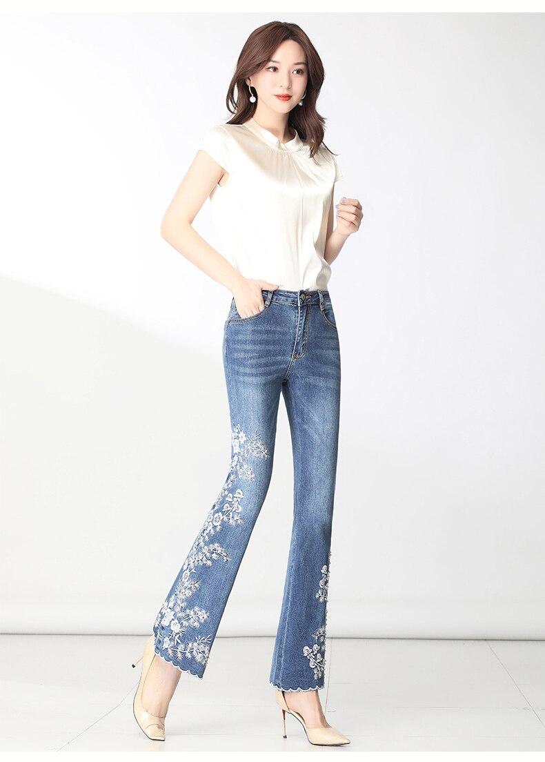 KSTUN FERZIGE Women Jeans High Waist Embroidered Floral Beads Desinger Bell Bottom Stretch Flared Pants Women's Clothes Big Size 36 15