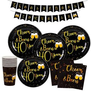 Image 3 - Black Gold Set Cheers Beers to Happy Birthday 30 50 60 70 80 90 Years Birthday Decor Cheers to 40 Years Birthday Party Supplies