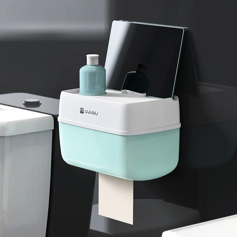 Paper Storage Box Bathroom Toilet Roll Paper Holder Wall Mount Plastic Bathroom WC Paper Phone Holder With Storage Shelf Rack
