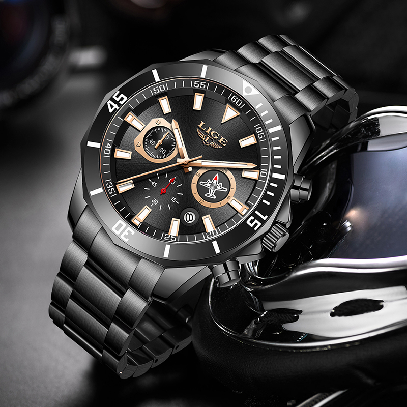 LIGE New Waterproof Men's Watches Top Brand Luxury Watch Men All Steel Big Dial Calendar Sport Wristwatch Male Chronograph+Box 6