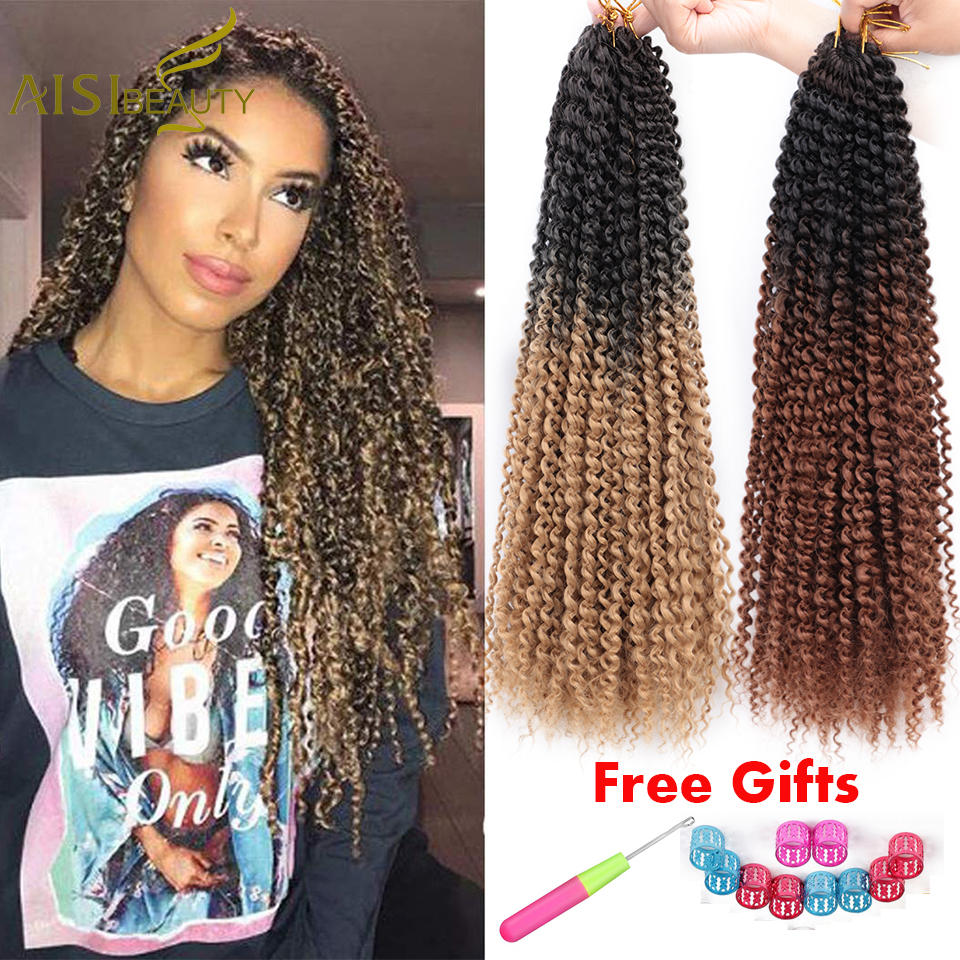 Passion Twist Hair Ombre Blonde Bohemian Braid Crochet Braiding Synthetic Hair Extension AISI BEAUTY