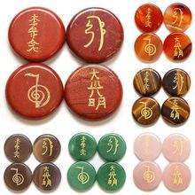 4 unidades/pacote 5x25mm moda natural semi-preciosa pedra reiki cura símbolos de pedra da religião 11 cores quatro símbolos reiki nenhum furo