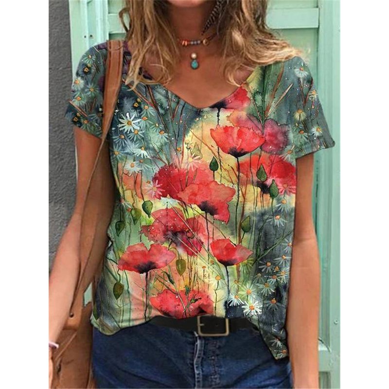 3D Gradient Landscape Print Women Blouse Shirts 2021 Summer V-Neck Pullover Tops Large Sizes Ladies Casual Short Sleeve Shirts