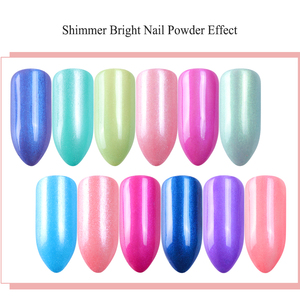 Image 2 - 12 Grid Magic เล็บ Chrome ผง RUB Pearl Fine ที่มีสีสัน Shimmer Dipping Glitter Nail Art Pigment ตกแต่งเล็บ CHZGF