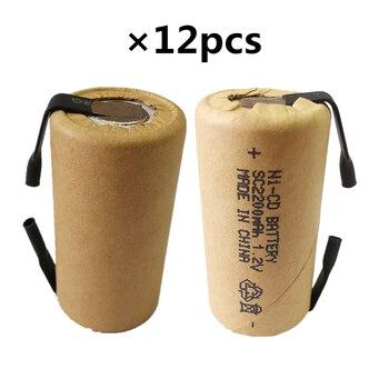 El precio más bajo, 12 piezas, batería SC, 1,2 v, baterías recargables, 2200 mAh, batería nicd para herramientas eléctricas akkumulator