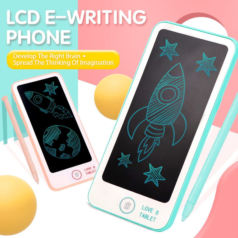 Drawing Tablet For Kids 6 Inch LCD Electronic Writing Phone Learning Paninting Tablet Educational Drawing Toys For Kids
