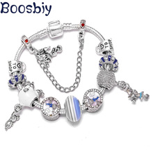 Boosbiy Romantic Hot Air Balloon Beads Charm Bracelet for Women With Snake Chain Fits Brand As Valentines Day Gift