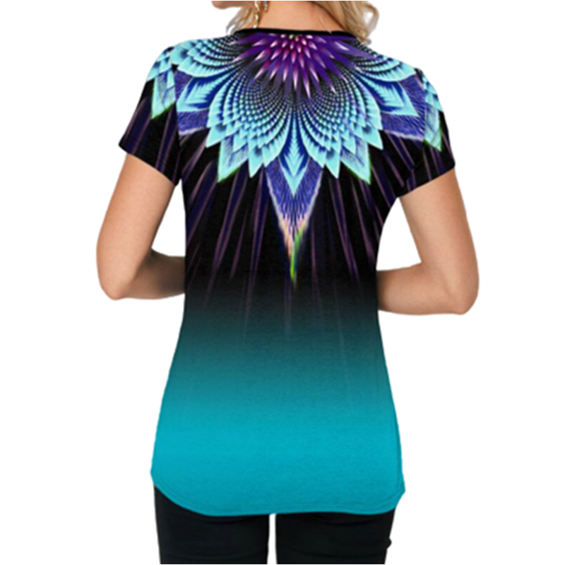 Women Casual Short Tshirts 2020 Plus Size S-5XL Gradient Color Print Summer Tshirt O-Neck Button Tees Top Loose Shirts Femme