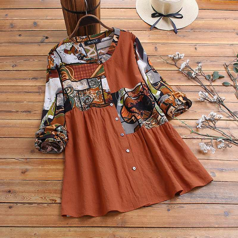 Vintage Floral Printed Blouse ZANZEA Women Spring O Neck Long Sleeve Shirts Casual Cotton Linen Blusas Femme Tunic Top Plus Size
