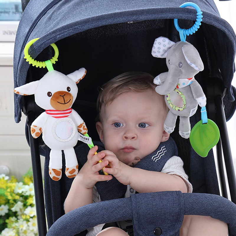 Baby Kids Rattles Toys Cotton Stroller Accessories Hanging Plush Toy Baby Crib Bed Hanging Bells ToysAnimal Clip