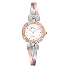Women Ladies Elegant Rose gold Quartz Strap Rhinestone Wrist Watch