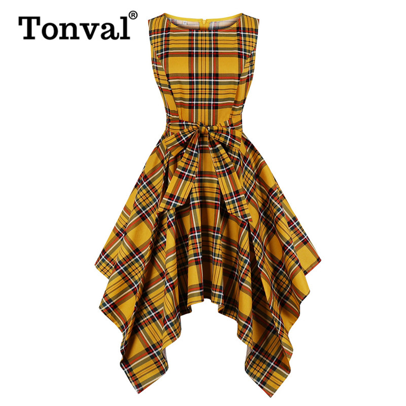 Tonval Yellow Plaid Asymmetrical Hem Fit And Flare Vintage Tartan Midi Dress Women O-Neck Belted Sleeveless Elegant Streetwear