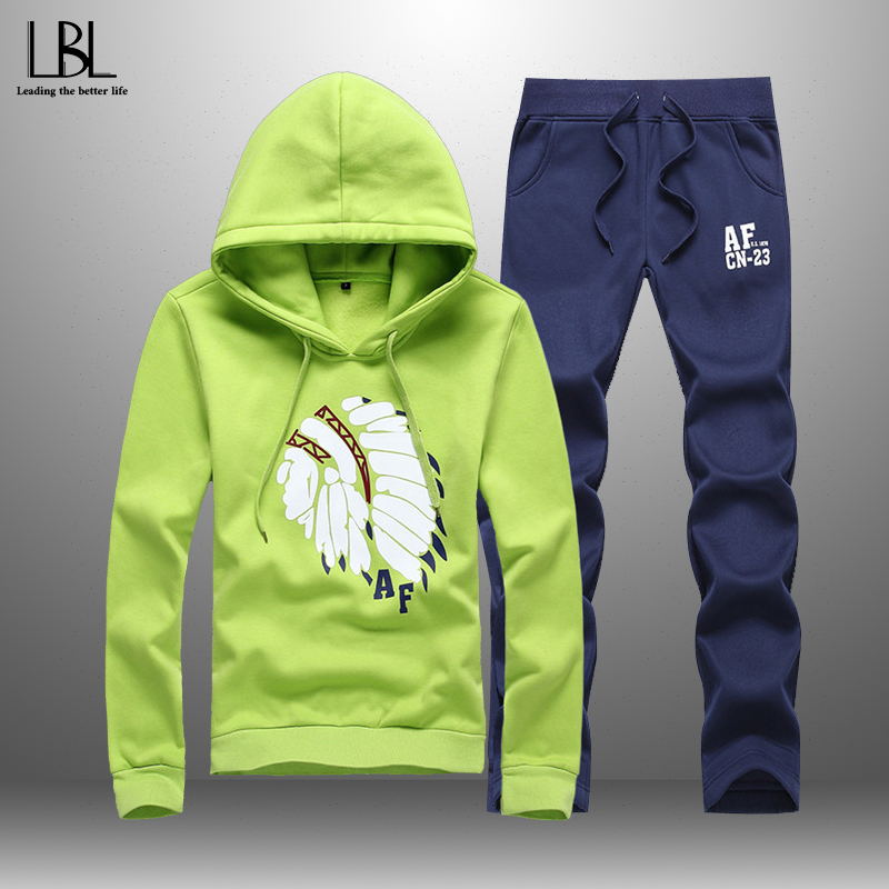 2020 Casual Men's Sportswear Spring Autumn Hooded Suits Men Women Tracksuit 2 Piece Hoodies + Sweatpants Elastic Waist Couple