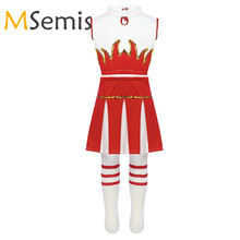 Kids Girls Cheerleader Costumes Outfit Crop Top with Skirt and Socks Dancewear Set for Schoolgirls Carnival Cheerleading Clothes