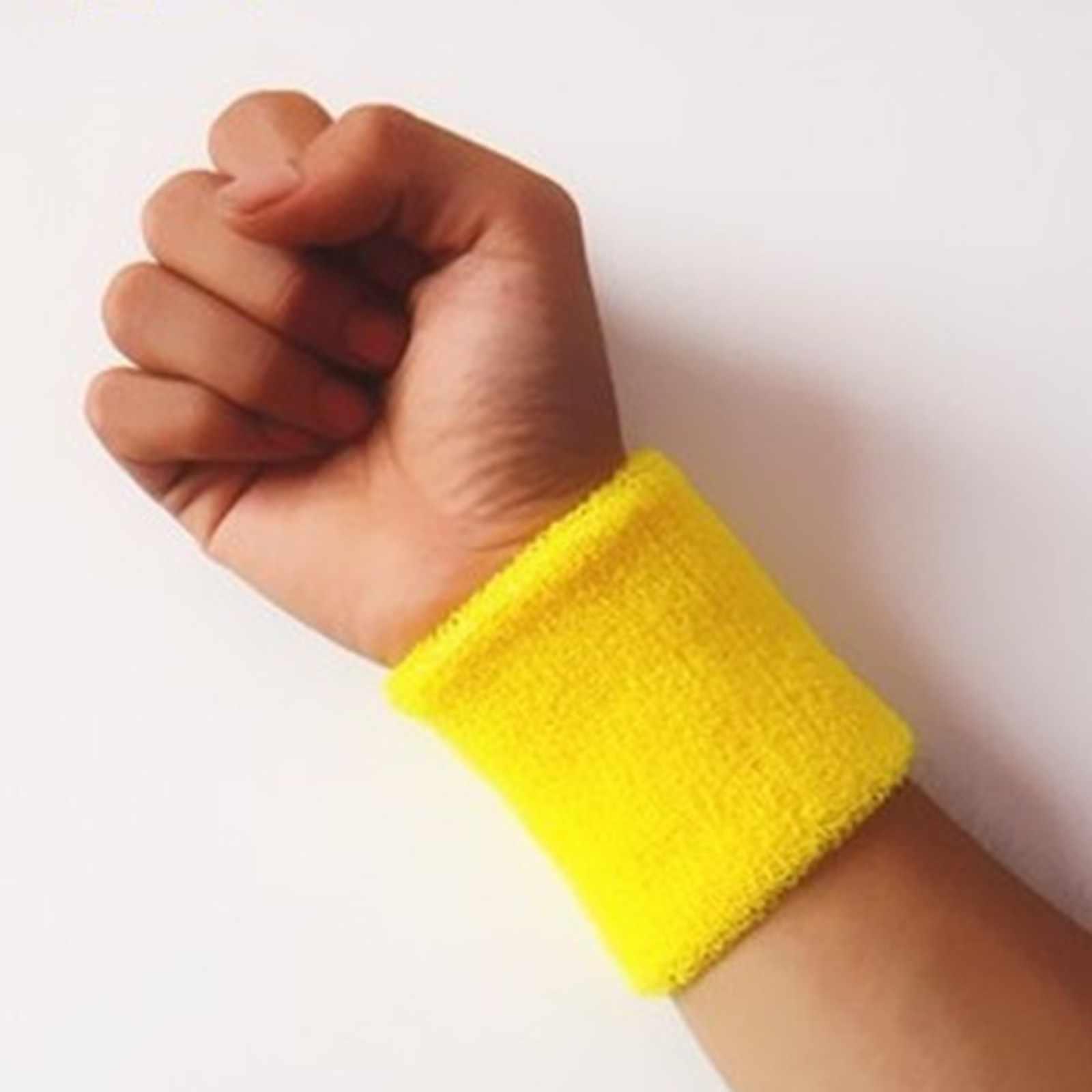 1 Buah Gelang Olahraga Pita Penahan Keringat Tangan Band Keringat Pergelangan Tangan Penopang Brace Membungkus Penjaga Gym Bola Basket Bola Voli