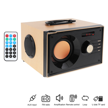 цена на Haoyes A200 Home Theater Wireless Wood Stereo Surround Bass Gun Bluetooth Speaker Support TF Card/U Disk/FM/AUX for Phones/PC