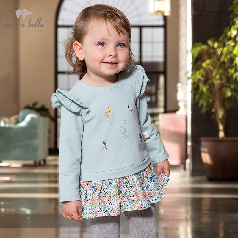DBM12793 dave bella spring baby girls floral ruched T-shirt children long sleeve tops girls cute pullover kids fashion tees