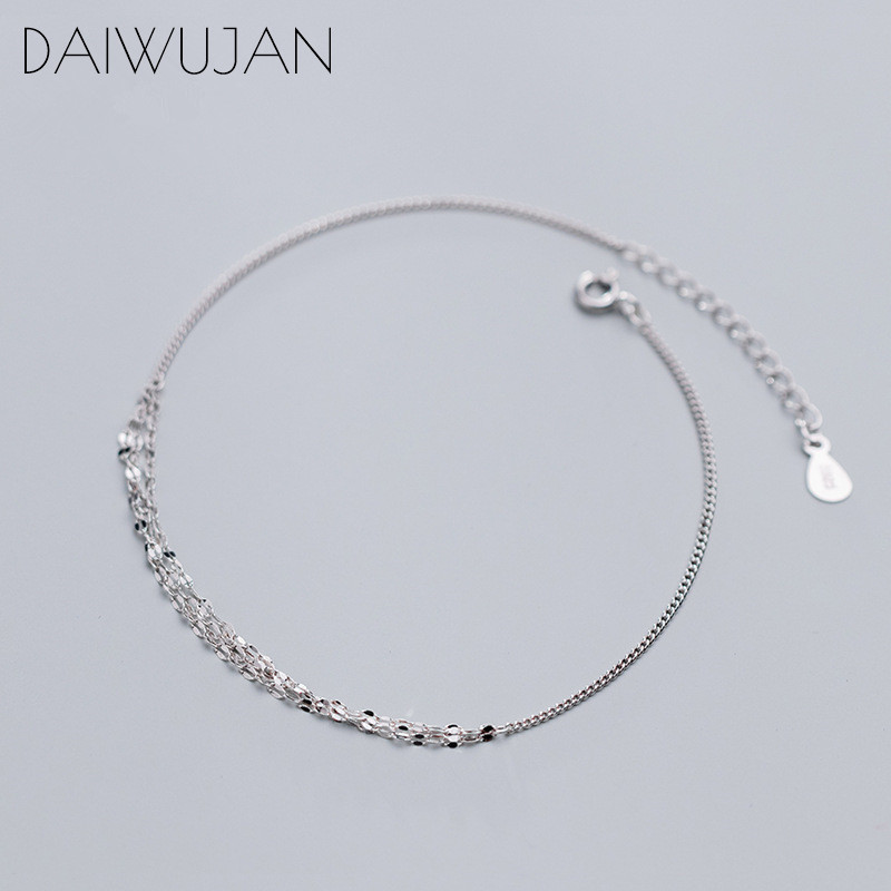 DAIWUJAN Ins 925 Sterling Silver Fashion Multilayer Geometric Sequin Charm Anklets Bracelets Fine Jewelry For Women Girls