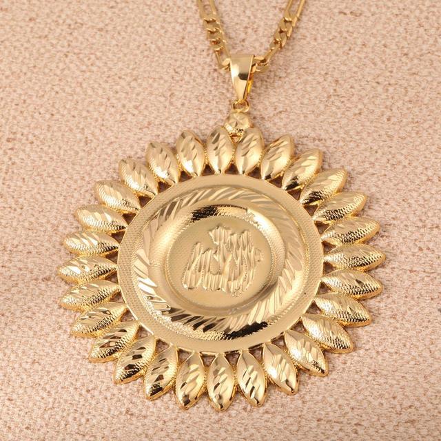 الله زهرة قلادة الذهب اللون محمد الإسلام مجوهرات العربية الشرق الأوسط سلسلة مجوهرات