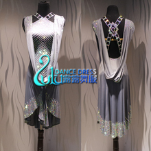Feminino ballroom salsa rhythm latina rumba dança vestido us 10 uk 12 cinza competição latina vestido
