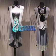 Women Ballroom Salsa Rhythm Latin Rumba Dance Dress US 10 UK 12  grey Competition latin dress