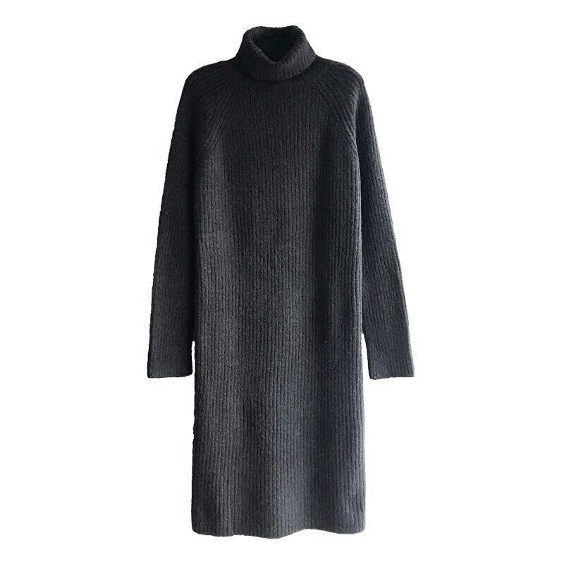 Longue laine pull robe femmes 2019 automne hiver nouveau col roulé lâche femmes tricot pull et pull Long tricoté dame Vestido