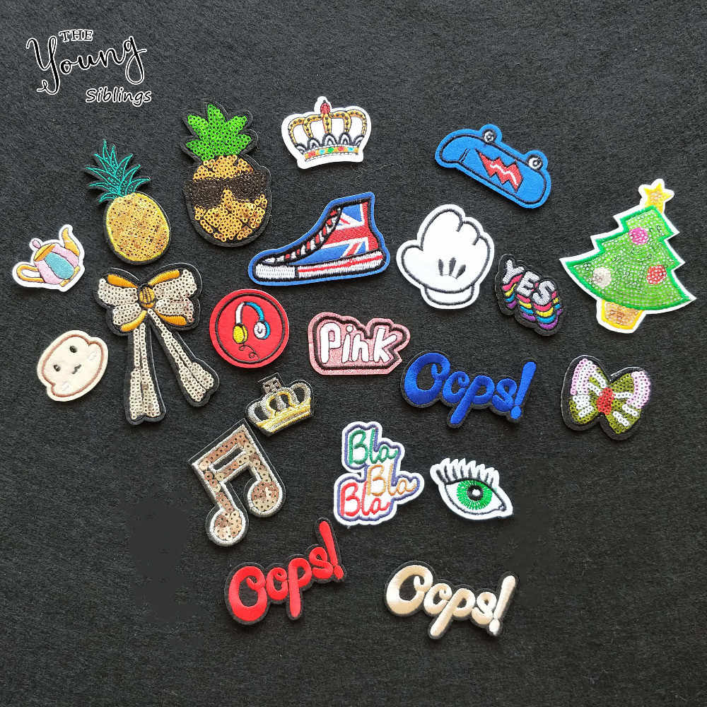 New arrive 1PCS sell Mixture embroidered  hot melt adhesive Patches letter crown bowknot Stickers badge DIY clothing accessory