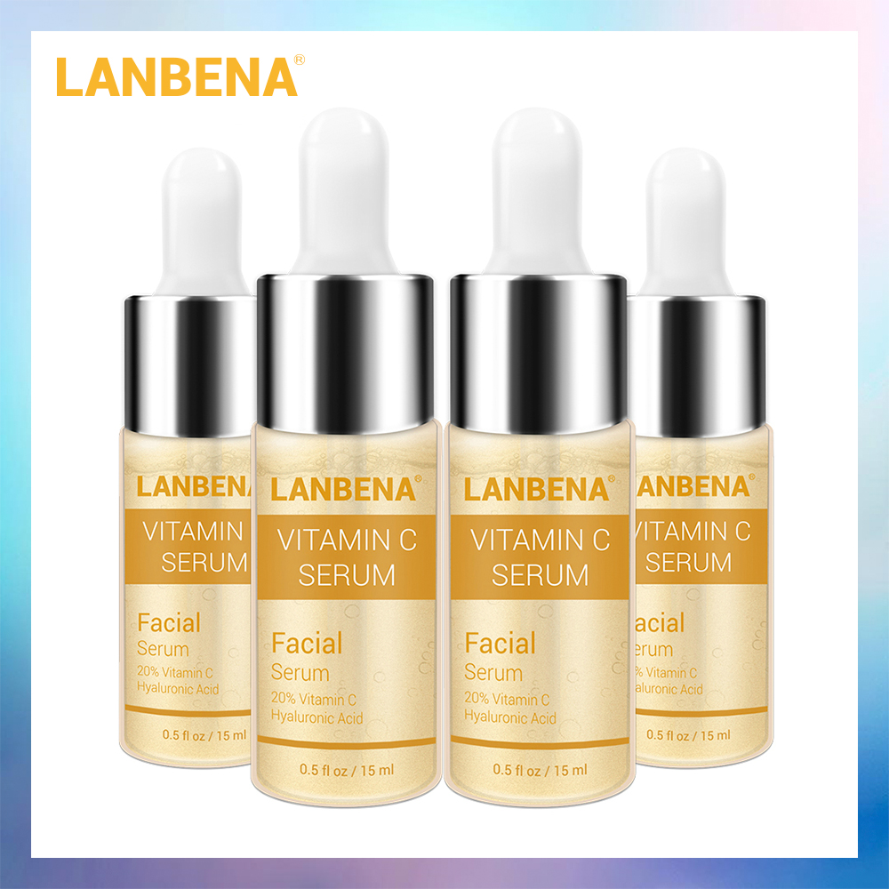 4PCS LANBENA Vitamin C Whitening Serum Hyaluronic Acid Face Cream Snail Remover Freckle Speckle Fade Dark Spots Anti-Aging