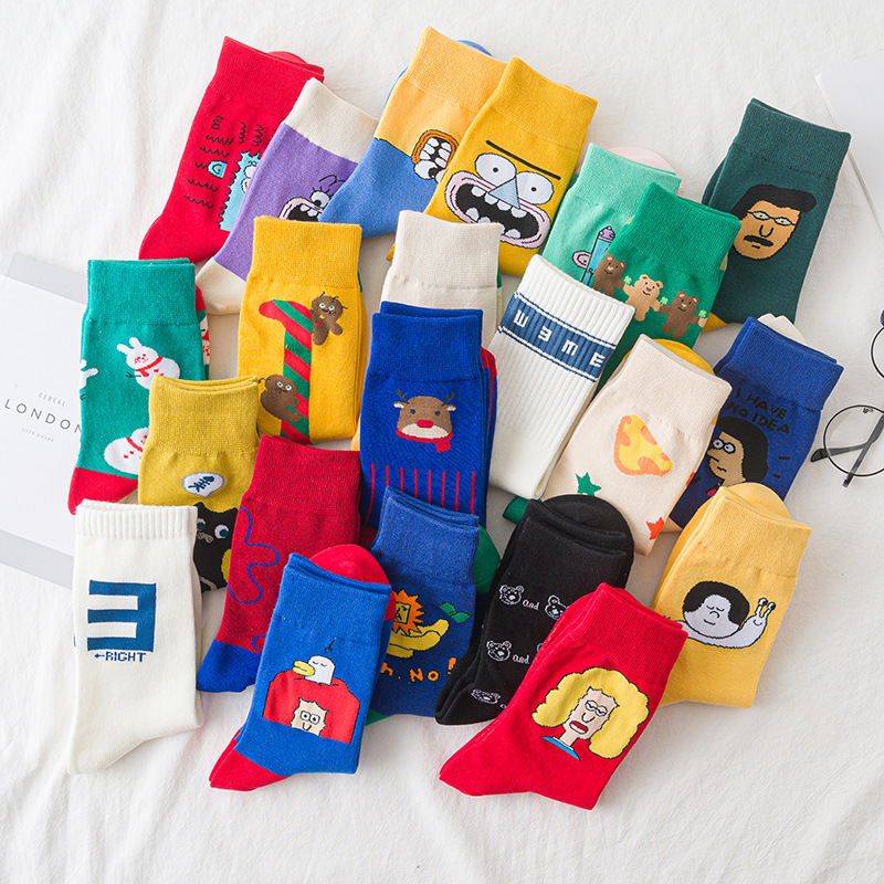Fashion Cartoon Patterned Women Funny Socks Original Casual Harajuku Socks For Ladies Comfortable Couples Art Socks Hipster Sox