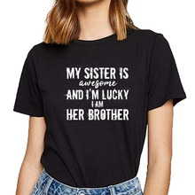Tops T Shirt Women funny crazy little big sister brother Kawaii Inscriptions Custom Female Tshirt(China)