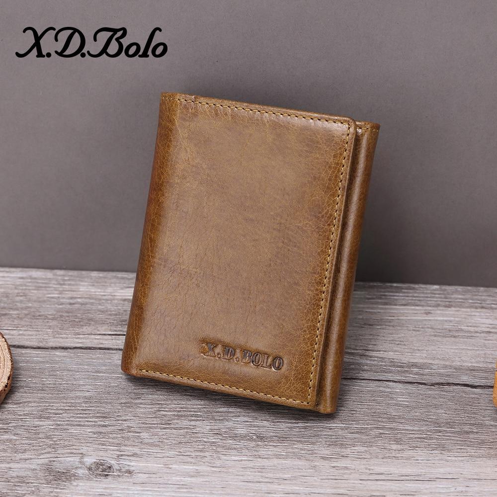 XDBOLO 2020 Men Wallet Genuine Leather Men's Purse Design Male Wallets With Zipper Coin Pocket Card Holder Luxury Wallet