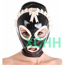 Латексные капюшоны на заказ, Фетиш-маска, капюшон для женщин ручной работы, натуральные капюшоны Zentai, женские головные уборы с открытыми гла...