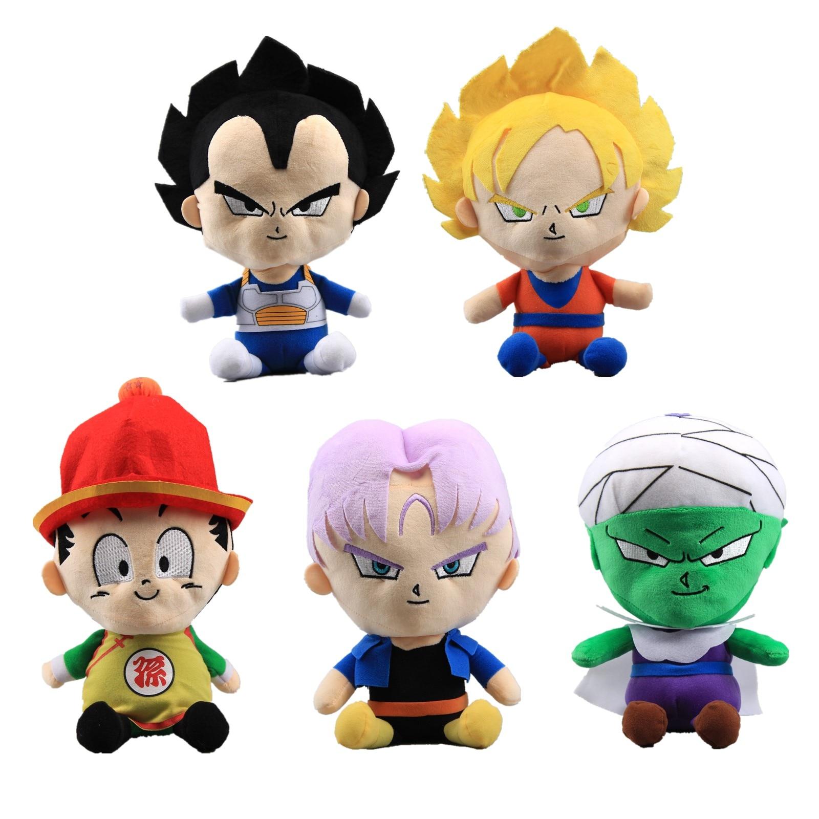 18-20cm New Dragon Ball Goku Vageta Super Saiyan God Piccolo Future Trunks Plush Dolls Keychain Baby Kids Birthday Gift