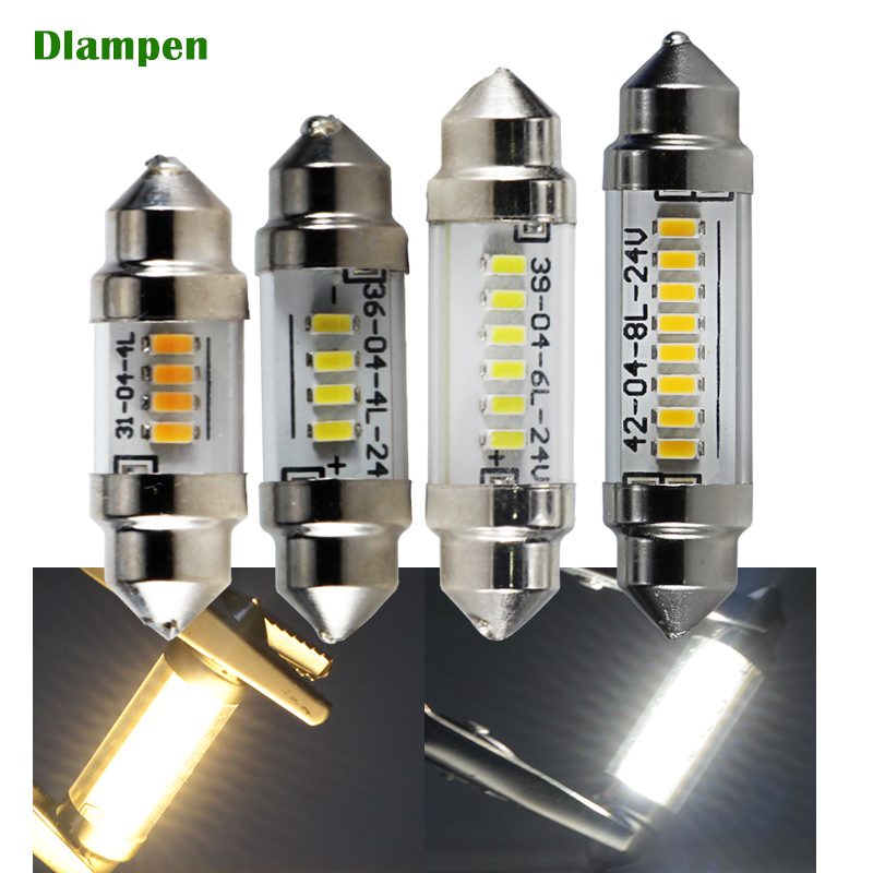 led car light auto interior dome festoon canbus 31mm 36mm 39mm 42mm glass cover bulb lights C5W C10W <font><b>6</b></font> <font><b>12</b></font> <font><b>24</b></font> v volt Reading lamp image