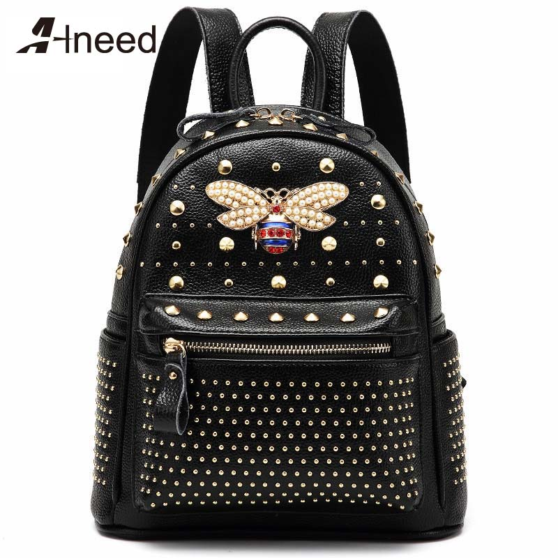 ALNEED Backpack for Women 2019 Fashion Rivet Back Pack Genuine Split Leather Backpacks Bee Bags Girls